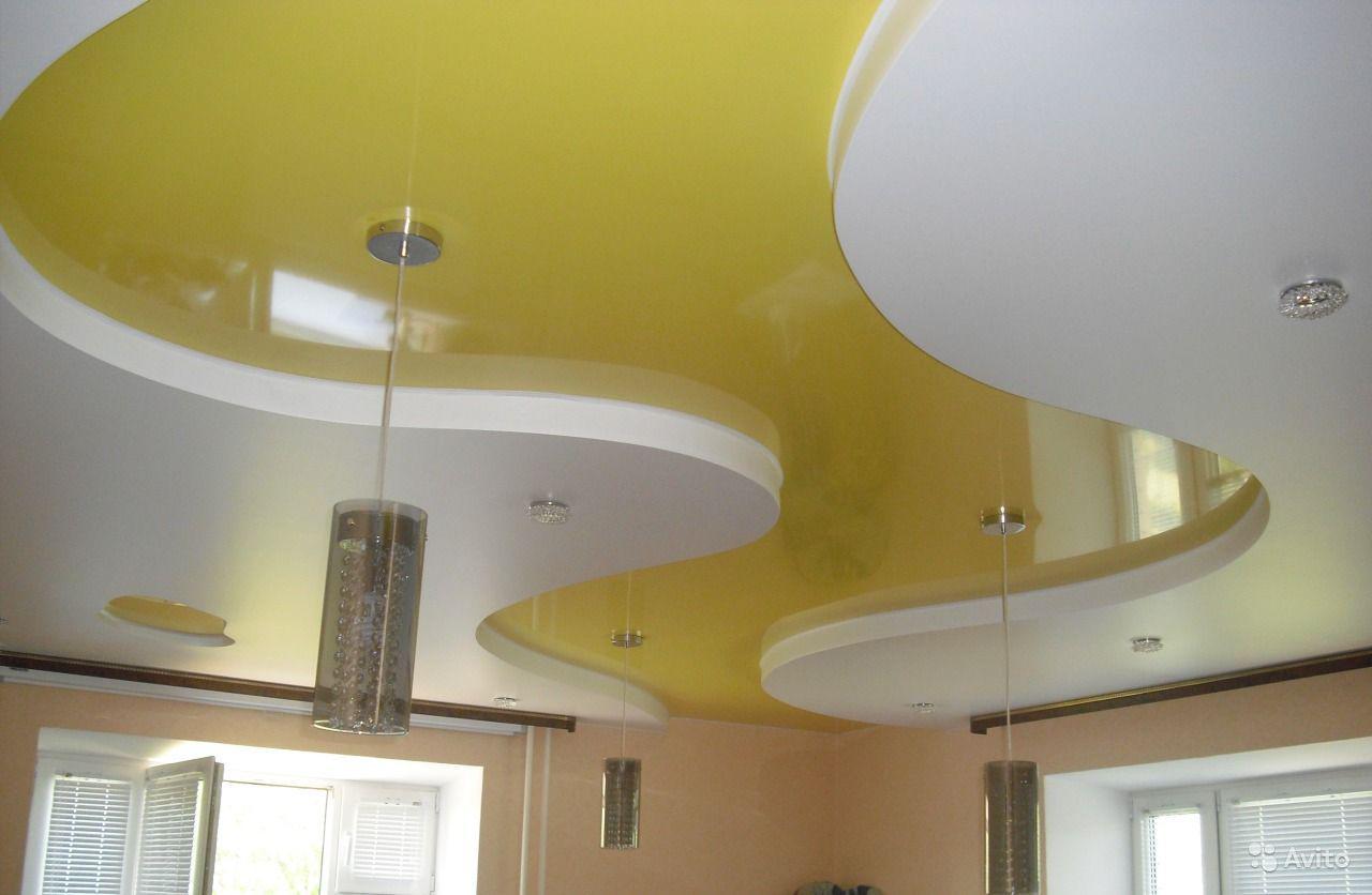 модели картинки двухуровнего потолка натяжного есть